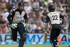 Black Caps opening batsmen Martin Guptill (left) and Kane Williamson (right) pictured in action against Sri Lanka. Photo / Alan Gibson