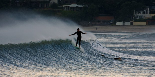 Gale force westerly winds raised the surf at Takapuna Beach last month. Photo / Paul Estcourt