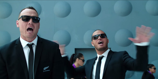 Loading Israel Dagg and Stan Walker perform Men in Black, in the Air New Zealand safety video that tipped me over the edge. Photo / Supplied