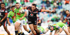 Tuimoala Lolohea of the Warriors breaks the Raiders defence during the round 20 NRL match between the Canberra Raiders and the New Zealand Warriors. Photo / Getty Images