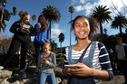 Saturday on the go for teenagers (from left) Peyton Halbert, Maddy Henare, Emma Smith and Tiger D Assefa as Pokemon Go spreads its wings in Napier. Photo / Paul Taylor