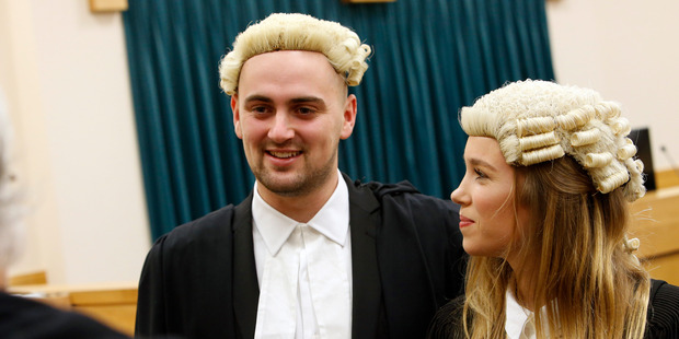 MOMENT TO TREASURE: Drew Buckley and Gabrielle Thompson are all smiles after they were admitted as barristers and solicitors in the High Court at Whangarei yesterday.