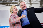 Presumptive Democratic presidential nominee Hillary Clinton appearing with vice presidential pick Sen. Timothy M. Kaine. Photo / Washington Post