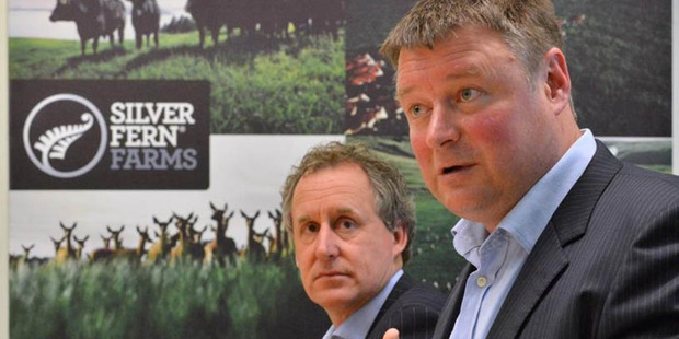 Silver Fern Farms chairman Rob Hewett (right) and chief executive Dean Hamilton. Photo / Otago Daily Times