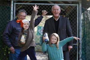 Robert Webb, Whangarei Native Bird Recovery Centre manager, Northland regional councillor John Bain, Rylee King, 7, and Georgie King, 5. Photo / Michael Cunningham