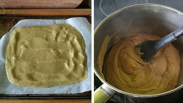 Behind the process of apple leather, left, and faina using chickpea flour. Photos / Bite magazine