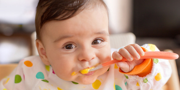 Researchers looked at 278 varieties of ready-made baby food, and found they often contained more vegetables and less fat than home-cooked recipes. Photo / Getty
