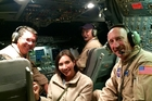 Michelle Dickinson on board Sofia - Nasa's huge flying observatory - with US pilots. Photo / Paul Petch