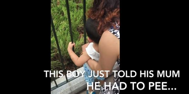A mother holding her son against some railings in a busy public area to urinate in an ornamental garden. Photo / Disney Dwayne, YouTube