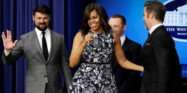 Star Trek's Karl Urban, Simon Pegg and Chris Pine with Michelle Obama at the White House. Photo / AP Twitter