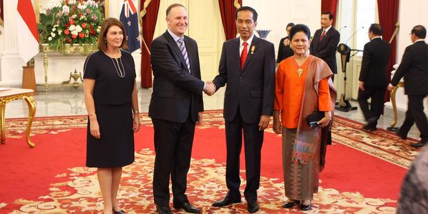 Prime Minister John Key and Indonesian President Joko Widodo at the Presidential Palace in Jakarta. Photo / Isaac Davison