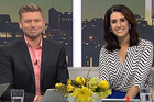 Matt Gibb teams up with Nadine Chalmers-Ross on the Breakfast couch this morning. Nadine's co-host Rawdon Christie is said to be on leave. Photo/TV One