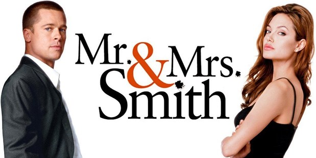 Brad Pitt and Angelina Jolie in Mr & Mrs Smith, the film which sparked their romance.