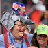 A Donald Trump supporter wears an elephant-shaped hat during the opening day of the Republican National Convention in Cleveland, Monday, July 18, 2016. Photo/AP