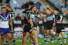 Jack Bird of the Sharks celebrates the team's win over the Bulldogs earlier in the season. Photo / Getty Images