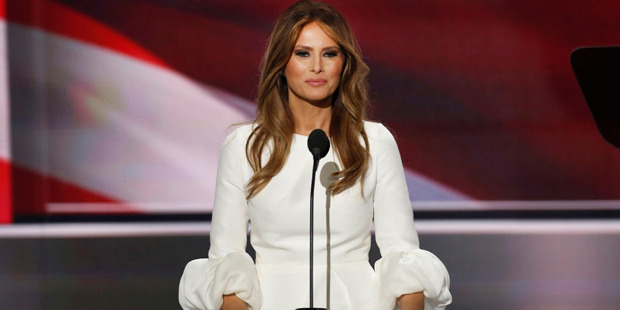Loading Melania Trump's speech may not have won praise, but her dress was well-received. Photo / Getty