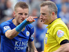 Leicester City's Jamie Vardy gestures to referee Jonathan Moss after being given a second yellow card and sent off. Photo / AP