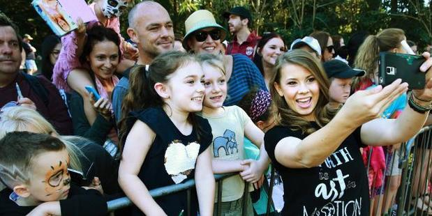 Bindi Irwin made sure to take plenty of selfies with her fans. Photo / News Corp Australia