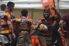 Hame Faiva scores for Waikato during the Ranfurly Shield match. Photo / Photosport