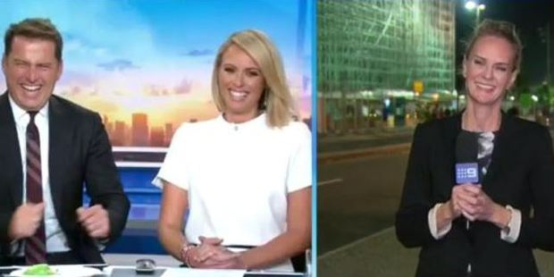 Karl Stefanovic enjoys a laugh over the attempted mugging in Rio. Photo / Channel 9