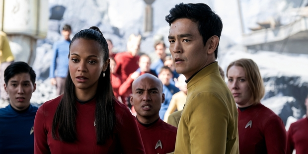 Loading Zoe Saldana (left) reprises the role of Uhura and John Cho returns as Sulu in Star Trek Beyond. Photo / AP