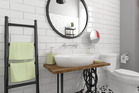 Tiles and a large mirror can make or break a bathroom. Tiles can look great and a mirror can add light and give the impression of more space.