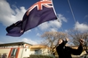 FLAG FIGHT: The storm over the flag may have died down a while ago but one ensign was still putting up a fight at Tamatea High School. Year 9 student Jayden Pye struggles to take down the flag at the end of the first week of term.PHOTO/WARREN BUCKLAND