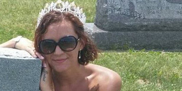 Brandi Lee Weaver-Gates, former beauty queen, wearing her pageant crown and sash visiting relatives' grave site in June. Photo / Brandi Lee Weaver-Gates
