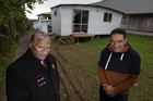 Rangi McLean and Rory Roy Toi Katipa, whose family is staying at the marae because they are homeless. Photo / Brett Phibbs