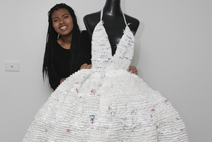 Plastic bag dress? The chic of it