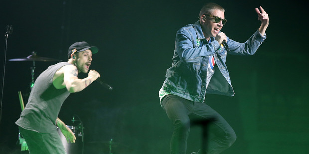 Macklemore and Ryan Lewis perform at Vector Arena in Auckland, New Zealand. Photo / Getty Images