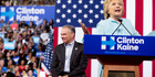 Democratic presidential candidate Hillary Clinton accompanied by Senator Tim Kaine, speaks at a rally at Florida International University Panther Arena in Miami. Photo / AP