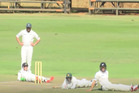 The Black Caps duck for cover as a swarm of bees invade their match against Zimbabwe A. Photo / Black Caps.
