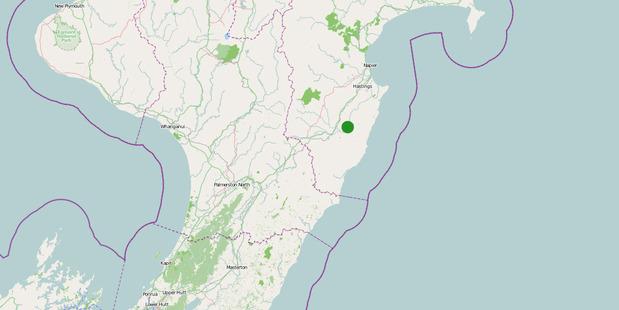 The moderate intensity earthquake was 31km deep and 15km east of Waipukurau.  Photo / GeoNet