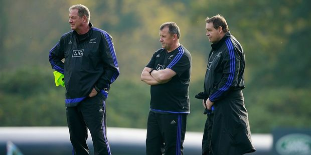 Former All Blacks skills coach Mick Byrne (L) with All Blacks coaches Ian Foster and Steve Hansen. Photo / Getty Images