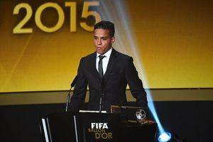 Brazilian forward Wendell Lira delivers a speech after receiving the 2015 FIFA Puskas Award for the goal of the year award. Photo / Getty Images