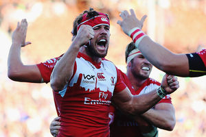 Warren Whiteley of the Lions celebrates with teammate Franco Mostert. Photo / Getty