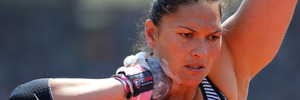 Valerie Adams competes during the IAAF Diamond League meeting in Birmingham. Photo / Getty Images