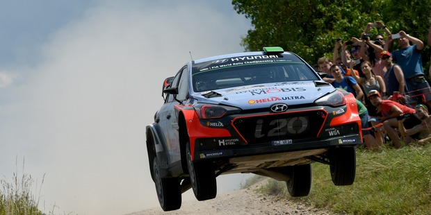 Hayden Paddon during the WRC Poland on July 1. Photo / Getty Images