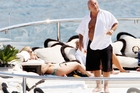 Sir Philip Green on his superyacht with Kate Moss in Monaco. Photo / Getty