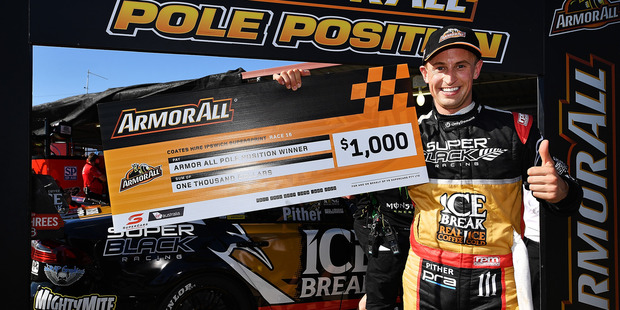 Chris Pither celebrates after taking pole position at the V8 Supercars Ipswich Supersprint. Photo / Getty Images