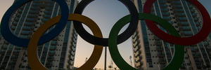 The Olympic rings outside of the athlete's village in Rio de Janeiro. Photo / Getty Images