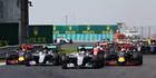Lewis Hamilton leads the pack at the Hungarian Grand Prix. Photo / Getty Images