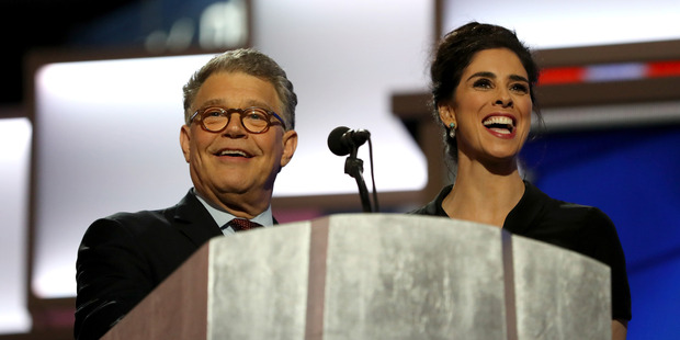 Comedian/actress Sarah Silverman speaks as Sen. Al Franken (D-MN) looks on. Photo / Getty Images