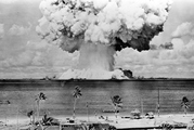 The US National Security Archives has declassified and released the entire stock of footage shot by surveillance aircraft that over flew the Bikini Atoll atomic bomb. Photo / Getty Images