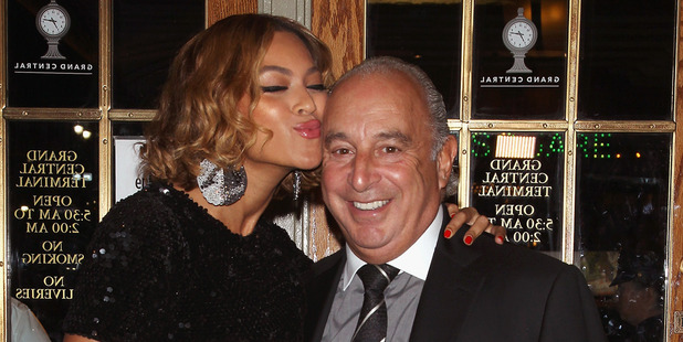 Singer Beyonce Knowles and Sir Philip Green at the Topshop/Topman New York City Flagship Opening Dinner in New York City in 2014. Photo / Getty