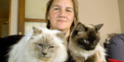 Julie Abbott with her cat Gracie, who has been left blind after being poisoned, possibly with 1080. Photo / Christchurch Star