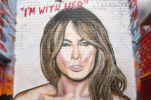 Giant racy murals made of Melania and Hillary