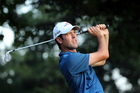 Robert Streb watches his tee shot during the second round of the PGA Championship. Photo / AP