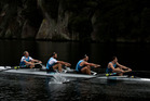 The Kiwi coxless four, Anthony Allen, Patrick McInnes, Axel Dickinson and Drikus Conradie. Photo / Brett Phibbs